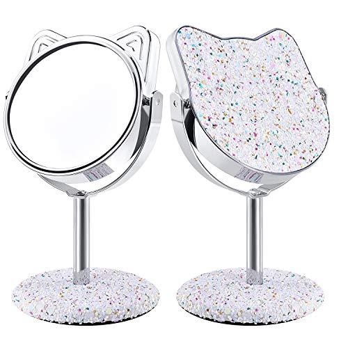 DERUI CREATION® mooie Kitty vorm ijdelheid spiegel voor vrouwen, tienertijd, kinderen, 360° draaibaar, uniek ontwerp met unieke mousserende pailletten, 3,5-inch, luxe cadeau voor Valentijn, verjaardag, verjaardag en Moederdag 3.5 INCH Kleur: wit