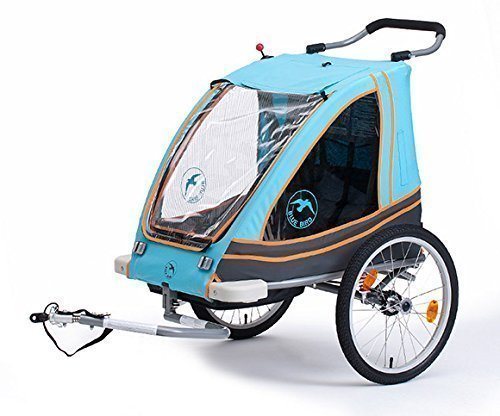 Blue Bird Dual Kinderanhänger 2 in 1 Alu 65961BL Monz grau/orange/blau