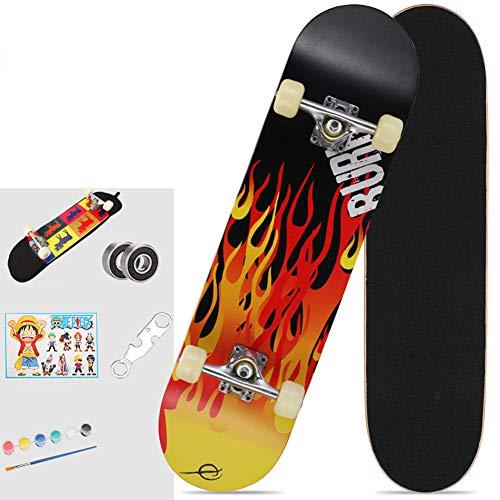 Skateboard, 80x20cm compleet pro skateboard, 7 lagen esdoornhout dubbele kick trucs skate board concave ontwerp voor beginners, cadeau voor kinderen jongens meisjes tieners,A