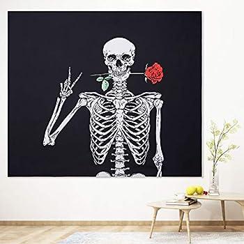 Pretty Jolly Black and White Rose Skull Tapestry Wall Hanging Cool Skeleton Tapestries for Women Men Kids Boys Girls,Fantasy Tapestry Wall Art for Bedroom Living Room Dorm Home Decor 51.2  x 59.1