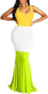LAGSHIAN Women's Sexy Summer Sleeveless Color Block Patchwork Bodycon Long Maxi Dress