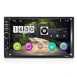 Android Radio Coche 2 DIN, 7' Pantalla táctil HD Quad-Core 2G + 16G Reproductor Multimedia para automóvil Soporte de navegación GPS, Wi-Fi, SWC, AUX, Enlace Espejo, USB, FM, Audio de Vista Posterior