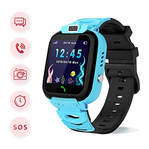 Children's Smart Watch Phone - Smart Watch for Boy Girl Music Kids Watch Funny Game HD Touch Screen Sports Kid Smartwatches with Call Camera Alarm Clock, Suitable for Aged 3-12(Blue)
