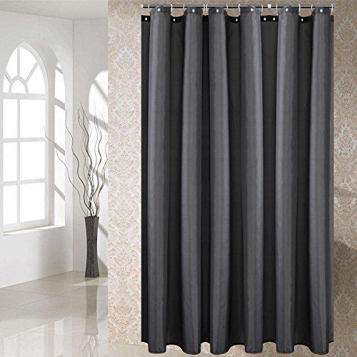 YUUNITY Shower Curtain Polyester Fabric Washable (Dark Grey 72x72)