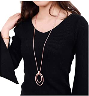 Long Sweater Chain Double Circle Pendant Necklace Bold Snake Chain Women Statement Necklace (Rose Gold)