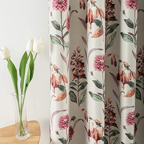 Leeva Red Floral Print Blackout Curtains and Drapes for Bedroom, Modern Style Thermal Insulated Room Darkening Window Curtain for Nursery, 52x63, 2 Panels