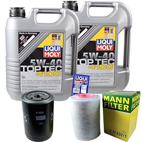 Preisvergleich Produktbild Filter Set Inspektionspaket 10 Liter Liqui Moly Motoröl Top Tec 4100 5W-40 MANN-FILTER Luftfilter Ölfilter