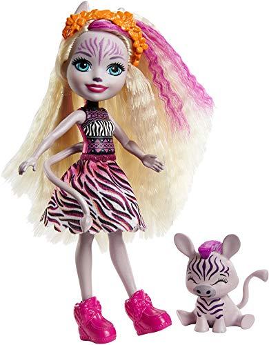 Enchantimals GTM27 - Zadie Zebra Puppe (15cm) & Ref Tierfreundin-Figur aus der Sonnensavanne-Kollektion, kleine Puppe mit abnehmbarem Rock und Zubehör, tolles Geschenk für Kinder von 3 bis 8Jahren