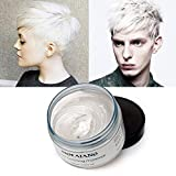 White Hair Coloring Dye Wax, Instant Hair Wax, Temporary Hairstyle Cream 4.23 oz, Hair Pomades, Natural Hairstyle Wax for Men and Women Party Cosplay (White)