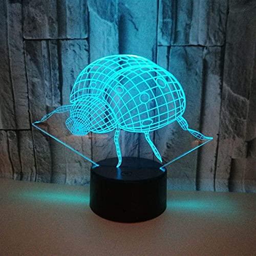 nakw88 Lámpara Escritorio Lámpara de Mesa Ladybug 3D luz Nocturna Siete Colores táctil Control Remoto LED luz Visual Dormitorio lámpara de Mesa Peque?a
