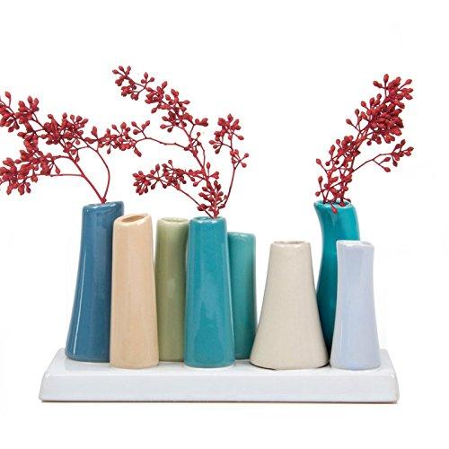 """Blütenknospen-Vase """"Pooley 2"""" von Chive, rechteckig, mit 8Röhren aus Keramik für kurze Blumen, Sortiment in Blaugrün und Hellgraubraun"""