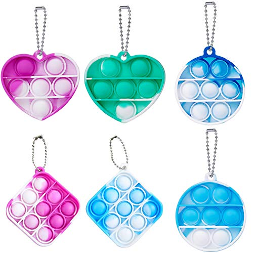 TINSO 6 Pack Mini Push Pop Fidget Keychain Toy  Heart Square Round Shape Silicone Squeeze Anti-Anxiety Fidget Toys  Popping Fidget Novelty Gift for Kids Adult (Tie Dye Green+Purple+Blue)