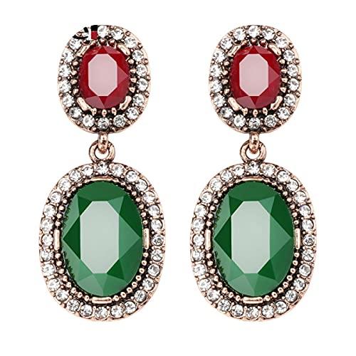 Joyería Boho para mujer, pendientes colgantes con piedras, oro antiguo, resina verde, diamantes de imitación blancos, pendientes grandes ovalados