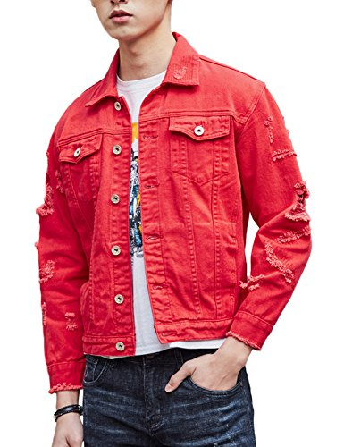 Red Denim Jackets Outfit Men's