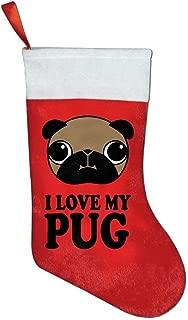 YISHOW I Love My Pug Christmas Stocking Red Xmas Socks