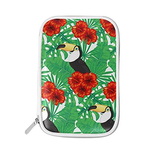 HaJie - Bolsa de lápices con diseño de hojas de palma tropicales, con cremallera, para guardar lápices, escuela, gran capacidad, para mujeres, bolsa de maquillaje
