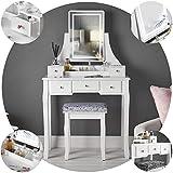 Carme Savannah - Tocador blanco con espejo táctil y luz LED de 5 cajones, juego de tocador para dormitorio, muebles de maquillaje y almacenamiento de joyas