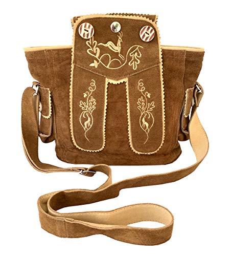 Trachtentasche Dirndltasche Lederhosen-Tasche Umhängetasche Wild-Leder Braun