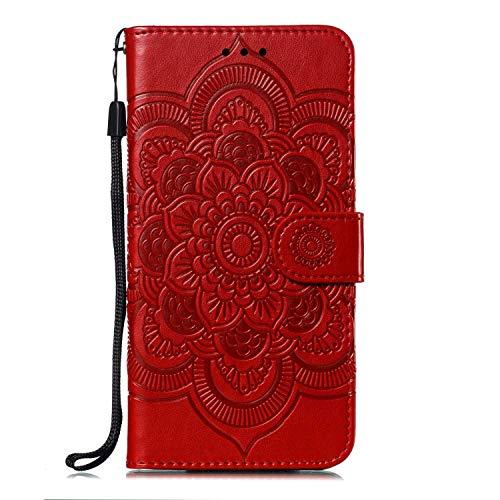 Bear Village Hülle Kompatibel mit Sony Xperia XZ3, Premium PU Hülle, Kratzfestes Brieftasche Schutzhülle mit Ständer Funktion für Sony Xperia XZ3, Rot