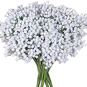4 Pack Baby's Breath Artificial Forks,Total of 1764 White Blooms Babys Breath Bulk Flower Bush Gypsophila Artificial in White -15.7″ Tall for Wedding Wreath Boutonniere Flower Crown