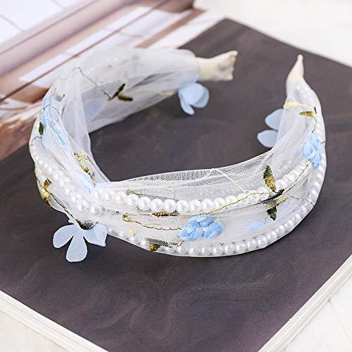 Tony plate Bandeau Femmes Papillon Fleur Noué Perle Bandeau Cheveux Accessoires Fille Étudiant Dentelle Large Bord Cheveux Cerceau Chapeaux-004