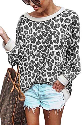 Jumojufol Donne Sweatshirt Leopardo Stampa Uno. Spalla Pullover Blouse Topi Grigio M