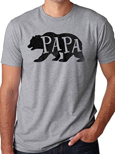 EBOLLO Papa Bear T-Shirt Husband Shirt Dad Gift Funny T-Shirt (3XL, Sport Gray)