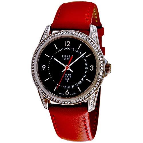 Garde (by Ruhla) Uhr Damen Funkuhr Modell FU-Date 96-101 mit Glasboden, Saphirglas