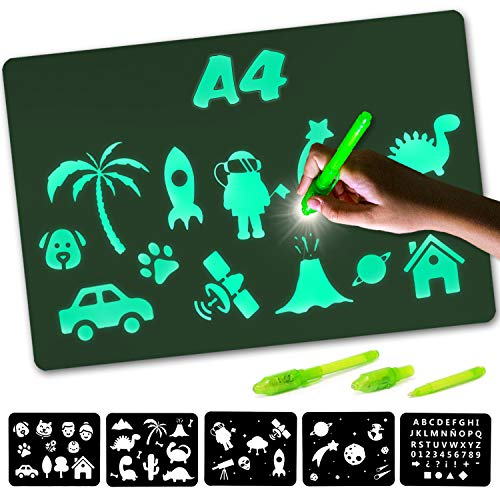Nene Toys - Magic Drawing Boards with Light for Kids - Fluorescent Drawing Board for Kids Age 3-12 Years Old that Boosts Creativity - Includes 2 Light Pens + Stencils + Invisible Ink + Board [A4 Size]