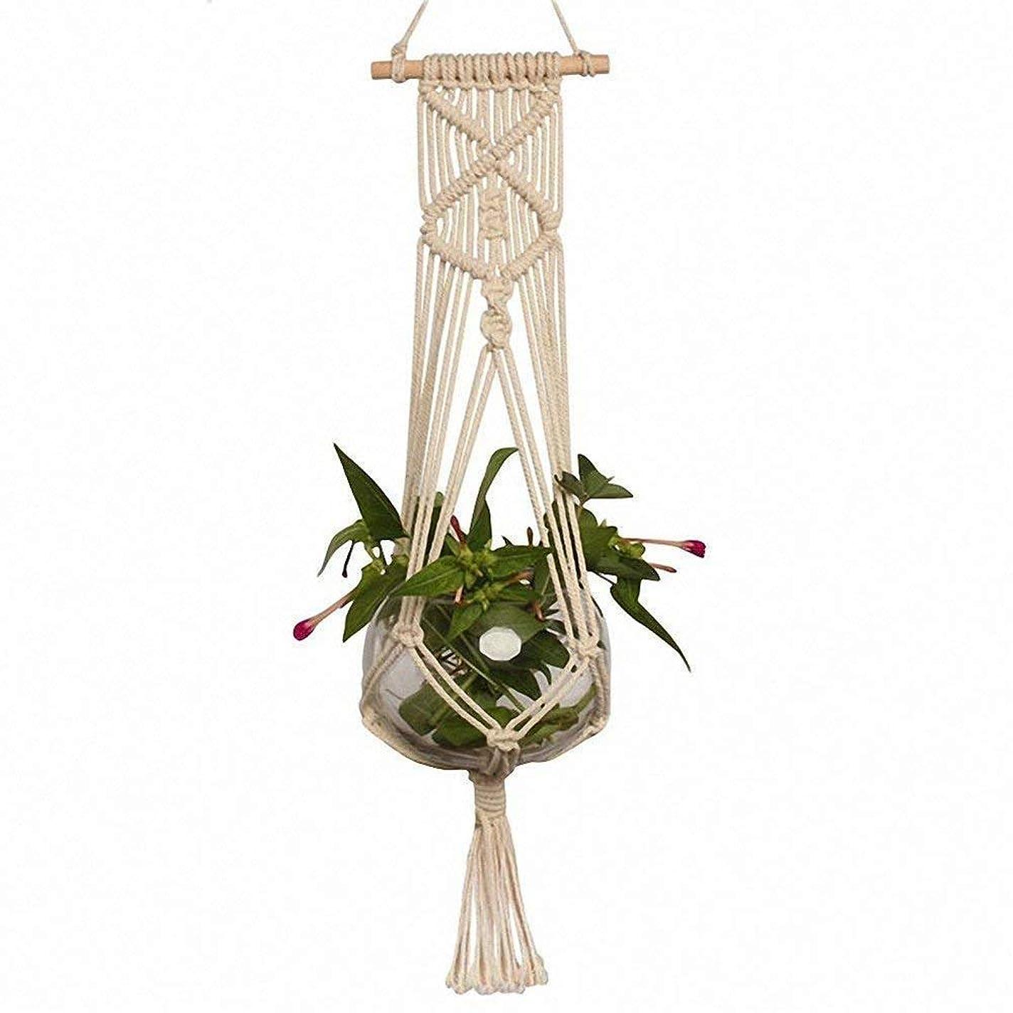 屈辱する寛大さリフレッシュ吊り下げロープ マクラメ ハンギングプランター マクラメ植物ハンガーぶら下げプランター屋内屋外コットンポットなし(1.05M) (色 : ベージュ, サイズ : 1.05M)