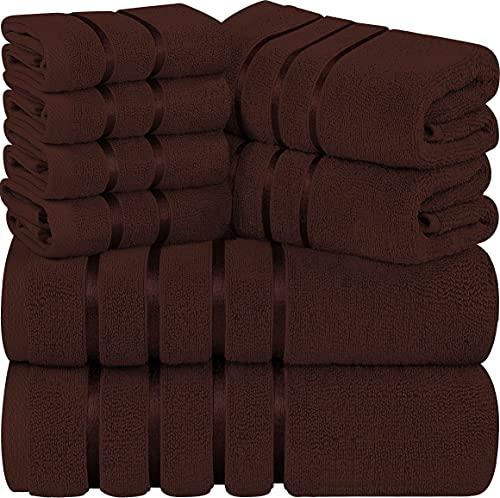 Utopia Towels - Juego de toallas marrón oscuro de 8 piezas, toallas de rayas de viscosa - algodón...