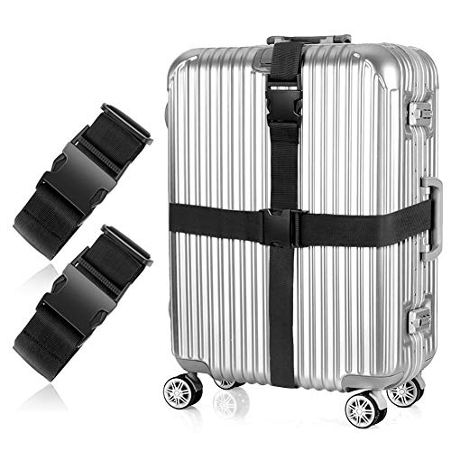 2Pcs Luggage Straps Suitcase Belts Travel Accessories Adjustable Long Bag Strap with Quick-Release Buckle Black