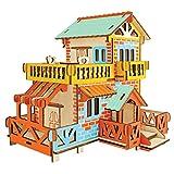 YJF Madera Natural 3D Puzzle Tiny House Collection Conjunto de construcción de artesanía de Madera Jigsaw (Casa Rural)