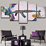 Lienzo Juego Strike Global Offensive AK-47 Pinturas Póster Impreso HD Decorativo para el hogar 5 piezas Arte de la pared Cuadros modulares