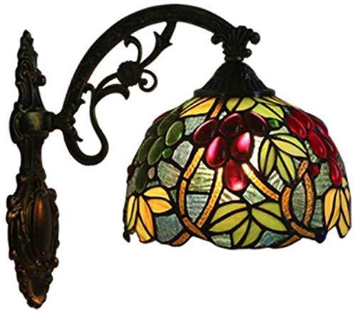 MISLD Wandleuchte Im Tiffany-Stil, Wandleuchte Aus Buntglas-trauben-Design Der Kirche, Europäische Retro-Pub-treppe Gangkorridor Bauernhaus-Wandleuchte
