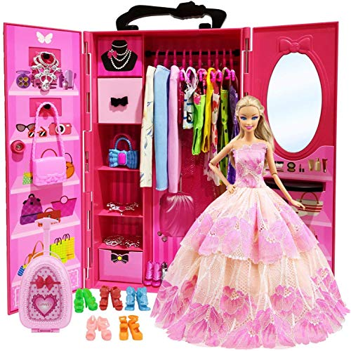 ZITA ELEMENT Lot 101 =1 Closet Wardrobe+1 Suitcase+2 Casual Clothes + 2 Gowns + 2 Swimsuits + 3 Mini Dresses + 10 Necklaces + 10 Shoes + 10 Bags + 10 Hangers + 50 Accessories for 11.5 Inch Girl Doll