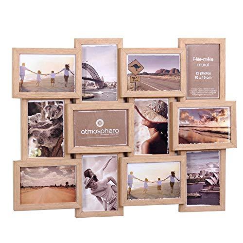 Cadre photo pêle-mêle mural - Capacité 12 photos - Coloris BOIS CLAIR