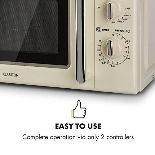 Klarstein Caroline Microondas - Microondas combi 2 en 1 con función grill, 20 litros, 700/1000 W de potencia, Ø 25,5cm, Diseño retro, Acero inoxidable, Beige