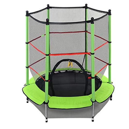 DREAMADE Trampolino da Giardino Tappeto Elastico per Bambini con Rete di Sicurezza, Diametro di 140 cm (medello 1)