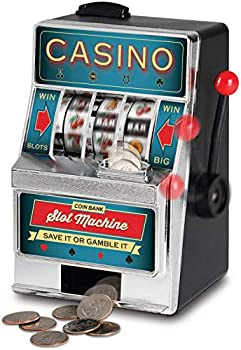 Ideas In Life Coin Bank Slot Machine – Casino Fun Spinning Reels Piggy Bank Novelty Mini Tabletop