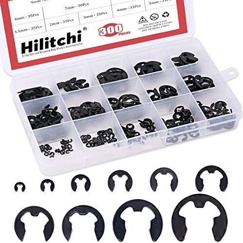 Hilitchi 300-Pcs Alloy Steel E-Clip Circlip External Retaining Ring Assortment Set - 1.5mm to 10mm