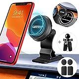 UVERTOOP Support Telephone Voiture Magnetique, Plus Fort Aimanté Support Téléphone Voiture Grille Aeration 2 en 1 Porte Telephone Voiture Tableau de Bord pour iPhone 12 11 Pro XS Max 8 7 Galaxy-Gris