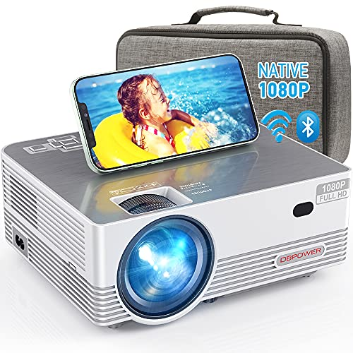 Native 1080P WiFi Bluetooth Projector, DBPOWER 8000L Full HD Outdoor Movie Projector Support iOS/Android & Zoom, Home Theater Video Projector Compatible w/Laptop/PC/DVD/TV/PS4 w/Carrying Case Included