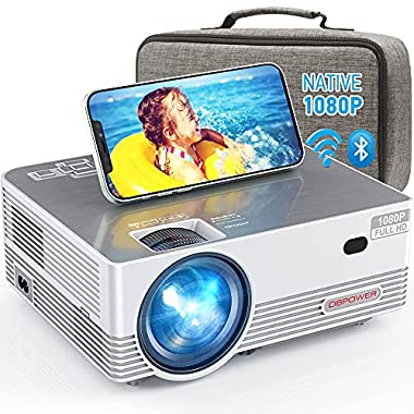 Native 1080P WiFi Bluetooth Projector, DBPOWER 8000L Full HD Outdoor Movie Projector Support iOS/Android & Zoom, Home…