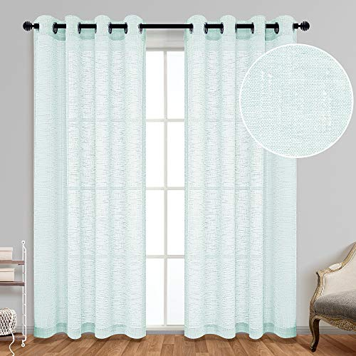 Aqua Curtains 95 Inches Long for Living Room 2 Panels Set Grommet Linen Look Light Filtering Semi Sheer Privacy Coastal Beach Curtains for Bedroom Baby Nursery Toddler 95 Inch Length Seafoam