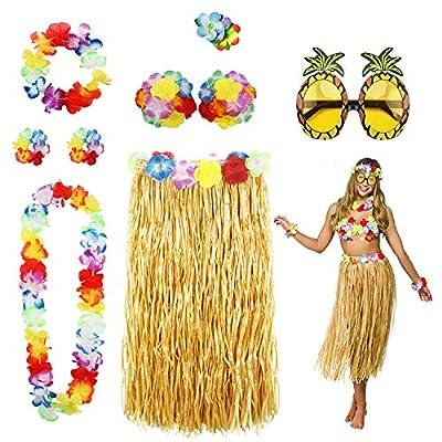 8 Pack Hula Skirt Costume Accessory Kit for Hawaii Luau Party - Dancing Hula with Flower Bikini Top, Hawaiian Lei, Hibiscus Hair Clip, Pineapple Sunglasses for Women from Phogary