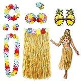 PHOGARY 8 Teilig Hawaii Mottoparty Kostüme Set, Hula Rock (Naturfarben), Blumenkette,...