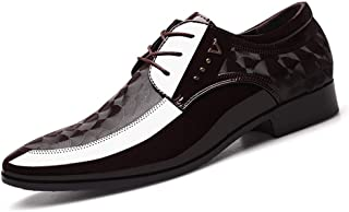Men's Glossy Oxford Shoes Formal Shoes (Color : Brown, Size : 39)