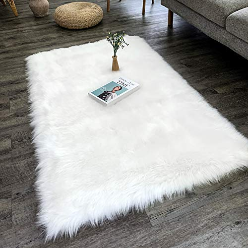 Dikoaina Classic Soft Faux Sheepskin Chair Cover Couch Stool Seat Shaggy Area Rugs for Bedroom Sofa Floor Fur Rug