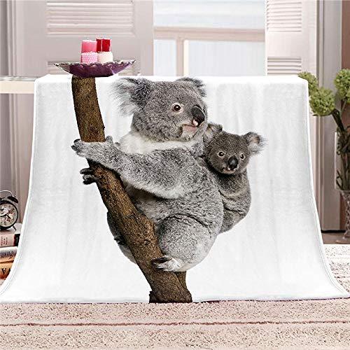 xczxc Manta de Franela Koala Animal 3D Impreso de Microfibra Franela Mantas, Suave niños Adultos sofá Cama Manta Polar 180x200cm